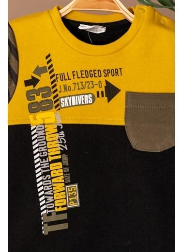 Zeyland Kolları Çizgili Sweatshirt ve Eşofman Altı Takım (6ay-4yaş) Kolları Çizgili Sweatshirt ve Eşofman Altı Takım (6ay-4yaş) Sarı